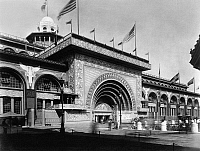 0174972 © Granger - Historical Picture ArchiveCOLUMBIAN EXPOSITION, 1893.   The Transportation Building at the World's Columbian Exposition in Chicago, Illinois. Photograph, 1893.
