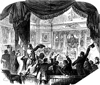 0076701 © Granger - Historical Picture ArchiveU.S. CONGRESS: HOUSE, 1856.   Northerners in the House gallery cheer the election of Massachusetts Free Soiler Nathaniel P. Banks as Speaker after a nine-week, 133-ballot deadlock, 2 February 1856. Contemporary wood engraving.