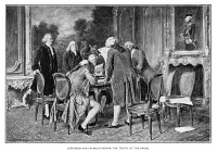 0619952 © Granger - Historical Picture ArchivePRUSSIA-US TREATY, 1785.   The signing of the Treaty of Amity and Commerce between the Kingdom of Prussia and the United States of America, 10 September 1785. American co-authors Thomas Jefferson and Benjamin Franklin stand in attendance. Engraving, c1890.