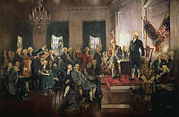 0007041 © Granger - Historical Picture ArchiveU.S. CONSTITUTION, 1787.   Scene at the signing, 17 September 1787. Oil on canvas, 1940, by Howard Chandler Christy.