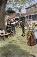 0028610 © Granger - Historical Picture ArchiveGIRLS IN COLONIAL AMERICA   listening to an outdoor political discussion. Illustration, 1901, by Howard Pyle.