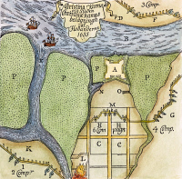 0046689 © Granger - Historical Picture ArchiveFORT CHRISTINA: DUTCH SIEGE.   Plan of the Dutch siege of Fort Christina on the Delaware River in 1655.