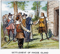 0054734 © Granger - Historical Picture ArchiveROGER WILLIAMS, 1636.   The settlement of Rhode Island at Providence, founded by Roger Williams, June 1636. Line engraving, late 19th century, after a drawing by Henry A. Ogden.