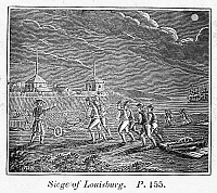 0075297 © Granger - Historical Picture ArchiveKING GEORGE'S WAR, 1745.   New Englanders lay siege to Louisbourg, Cape Breton Island, in 1745. Wood engraving, American, 1833.