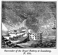 0075299 © Granger - Historical Picture ArchiveKING GEORGE'S WAR, 1745.   Surrender of the Royal Battery at Louisbourg, Cape Breton Island, 1745. Wood engraving, American, 19th century.
