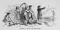0090128 © Granger - Historical Picture ArchiveREGULATORS REVOLT, 1771.   'Attempt to Pacify the Regulators.' Edmund Fanning (far right, on opposite shore) attempting to pacify the Regulators, led by Ninian Bell Hamilton, along the Eno River near Hillsborough, North Carolina, during the Regulators revolt in 1771. Wood engraving, 19th century, after Felix O.C. Darley.