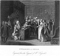 0090322 © Granger - Historical Picture ArchiveSWEARING A CHILD, 1730-35.   An unmarried pregnant woman swearing the identity of the father, so that he will have to assume the financial responsibility for the child. Engraving by Hogarth, 1730-35.