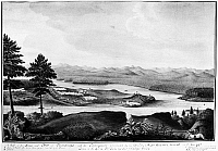 0118412 © Granger - Historical Picture ArchiveFORT TICONDEROGA, 1759.   View of Fort Ticonderoga on Lake Champlain, New York. Watercolor, 1759, by Thomas Davies.