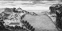 0118418 © Granger - Historical Picture ArchiveFORT OSWEGO, 1727.   South view of Fort Oswego, New York, on Lake Ontario, constructed in 1727 and destroyed by the French during the French and Indian War in 1756. Line engraving, English, 1760.
