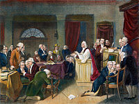 0008103 © Granger - Historical Picture ArchiveCONTINENTAL CONGRESS.   Chaplain Jacob Duché leading the first prayer in the First Continental Congress at Carpenter's Hall, Philadelphia, September 1774: mezzotint, 1848.