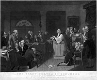 0012450 © Granger - Historical Picture ArchiveCONTINENTAL CONGRESS, 1774.   Chaplain Jacob Duche leading the first prayer in the First Continental Congress at Carpenter's Hall, Philadelphia, Pennsylvania, in September 1774. Mezzotint by H.S. Sadd, 1848, after Tompkins Harrison Matteson.