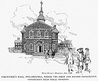 0040402 © Granger - Historical Picture ArchiveCARPENTER'S HALL.   Carpenter's Hall, Philadelphia, Pennsylvania, meeting-place of the First and Second Continental Congresses of 1774 and 1775. Illustration by Howard Pyle (1853-1911).