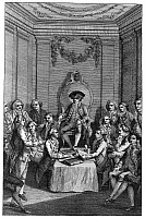 0131382 © Granger - Historical Picture ArchiveCONTINENTAL CONGRESS, 1774.   'The American Congress.' Line engraving, English, late 18th century, from 'Cowley's History of England.'