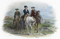 0620454 © Granger - Historical Picture ArchiveCONTINENTAL CONGRESS, 1774.   George Washington, Patrick Henry, and Edmund Pendleton travel to the First Continental Congress at Philadelphia in September 1774. Engraving after Felix Octavius Darley, 19th century.