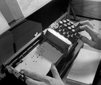 0527577 © Granger - Historical Picture ArchiveTABULATING MACHINE, c1940.   A tabulating machine, used for processing census data. Photograph, c1940.