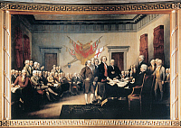 0007051 © Granger - Historical Picture ArchiveDECLARATION OF INDEPENDENCE   The signing of the Declaration of Independence in Congress, at the Independence Hall, Philadelphia, 4 July 1776. Oil on canvas by John Trumbull.