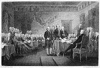 0059883 © Granger - Historical Picture ArchiveDECLARATION OF INDEPENDENCE   The signing of the Declaration of Independence in Congress, at the Independence Hall, Philadelphia, Pennsylvania, 4 July 1776. Steel engraving after the painting by John Trumbull.