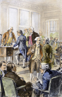 0103047 © Granger - Historical Picture ArchiveDECLARATION OF INDEPENDENCE   Signing of the Declaration of Independence on 4 July 1776. Drawing by Henry A. Ogden (1856-1936).
