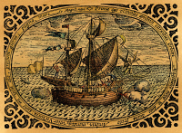 0009135 © Granger - Historical Picture ArchiveMAGELLAN: VITTORIA, 1519.   The Vittoria (Victoria), the only one of Ferdinand Magellan's five ships to survive to complete the first circumnavigation of the earth, 1519-22. Colored line engraving, 16th century.