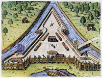 0010580 © Granger - Historical Picture ArchiveFORT CAROLINE, 1564.   Plan of Fort Caroline on the St. John's River, built by the second French expedition to Florida in 1564. Colored engraving, 1591, by Theodor de Bry after a now lost drawing by Jacques Le Moyne de Morgues.