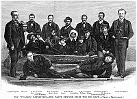 0054860 © Granger - Historical Picture ArchivePOLARIS SURVIVORS, 1873.   The 'Polaris' survivors who were rescued from the ice-floe after an expedition led by Captain Charles Francis Hall. Wood engraving, American, 1873.