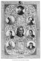 0619934 © Granger - Historical Picture ArchiveEXPLORERS.   Portraits of signficant figures in the exploration of the Americas, including Amerigo Vespucci, Francisco Pizzaro, Hernan Cortes, Ferdinand Magellan, Christopher Columbus, Vasco Nunez de Balboa, Francis Drake, and John Cabot (top to bottom, left to right). Engraving, c1890.