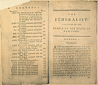 0007080 © Granger - Historical Picture ArchiveTHE FEDERALIST, 1788.   Partial table of contents and first page of the first edition of The Federalist, essays in favor of a federal Constitution, written by Alexander Hamilton, James Madison, and John Jay, and published at New York in 1788.