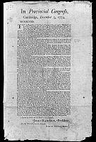 0128613 © Granger - Historical Picture ArchivePROVINCIAL CONGRESS, 1774.   Broadside, 5 December 1774, from the Provincial Congress at Cambridge, Massachusetts, with extract of minutes from the Continental Congress, declaring a ban on goods from Great Britain, Ireland or British plantations in the colonies.