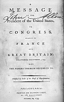 0128627 © Granger - Historical Picture ArchiveFOREIGN RELATIONS, 1793.   Title page of the published version of a message from from President Washington to Congress, 5 December 1793, concerning the relations of the United States with France and Great Britain.