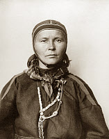 0527679 © Granger - Historical Picture ArchiveELLIS ISLAND: WOMAN, c1910.   Portrait of a Sami woman from Lapland at Ellis Island. Photograph by Augustus Sherman, c1910.
