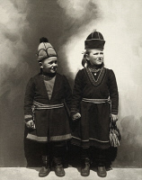 0527693 © Granger - Historical Picture ArchiveELLIS ISLAND: GIRLS, c1910.   Portrait of Sami girls from Lapland at Ellis Island. Photograph by Augustus Sherman, c1910.