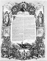 0027837 © Granger - Historical Picture ArchiveEMANCIPATION PROCLAMATION.   Lithograph, by L. Haugg, published in the Philadelphia Free Press, 1860s.
