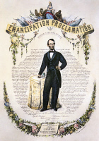 0060516 © Granger - Historical Picture ArchiveEMANCIPATION PROCLAMATION.   Commemoration of President Abraham Lincoln's Emancipation Proclamation of 1863. Lithograph, 1865.