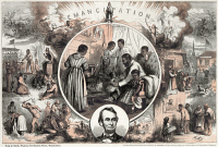 0120070 © Granger - Historical Picture ArchiveEMANCIPATION PROCLAMATION.   Thomas Nast's celebration of the emancipation of Southern slaves with the end of the Civil War. Wood engraving, 1865, after Thomas Nast.