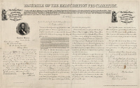 0325670 © Granger - Historical Picture ArchiveEMANCIPATION PROCLAMATION.   Facsimile of the Emancipation Proclamation, produced and sold by the United States Sanitary Commission to fund the Soldier's Home in Chicago, Illinois. Lithograph by Edward Mendel, 1863.