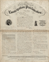 0325671 © Granger - Historical Picture ArchiveEMANCIPATION PROCLAMATION.   Facsimile of the Emancipation Proclamation, produced and sold by the United States Sanitary Commission to fund the Soldier's Home in Chicago, Illinois. Lithograph by Edward Mendel, 1863.