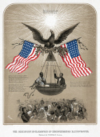 0633861 © Granger - Historical Picture ArchiveEMANCIPATION, c1861.   An idealistic call for emancipation featuring freed slaves in a basket carried by an eagle, and flanked by two American flags. Lithograph published by Louis Prang & Co., after Dominique C. Fabronius, c1861.