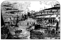 0001350 © Granger - Historical Picture ArchiveGREAT LAKES STEAMER, c1830.   A steamboat carrying recent German immigrants in America from Castle Garden, New York City, to the Great Lakes region, c1830. Wood engraving, American, 19th century.
