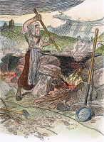 0007712 © Granger - Historical Picture ArchiveFRONTIER LIFE: SOAP MAKING.   A woman on the American frontier boiling a kettle of potash to make soap. Illustration by C.W. Jefferys.