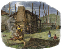 0008332 © Granger - Historical Picture ArchiveEMIGRANT: PIONEER'S HOME.   On the western frontier in Wisconsin. Colored engraving, 1847.