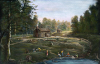 0008814 © Granger - Historical Picture ArchiveOHIO: LOG CABIN & FARM.   A log cabin and farm site at Orange (Cuyahoga county), Ohio, in 1831. Lithograph.