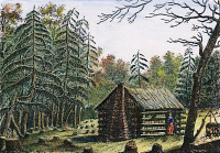 0010683 © Granger - Historical Picture ArchiveWEST: LOG CABIN, 1826.   A log cabin in a clearing on the American frontier. Line engraving, French, 1826.