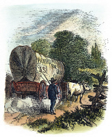 0010767 © Granger - Historical Picture ArchiveEMIGRANTS TO OHIO, c1840.   An emigrant wagon bound for Ohio: colored engraving, c1840.
