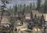 0035910 © Granger - Historical Picture ArchiveEMIGRANT SETTLEMENT, c1880.   A newly established settlement in the American Northwest. Wood engraving, c1880.