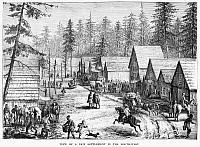 0035925 © Granger - Historical Picture ArchiveEMIGRANT SETTLEMENT, c1880.   A newly established settlement in the American Northwest. Wood engraving, c1880.