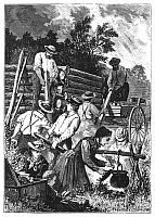 0042875 © Granger - Historical Picture ArchiveEMIGRANTS: BUILDING CABIN.   Emigrants building a log cabin in the American West. Wood engraving, 1874, by Charles Maurand, after a sketch by Paul Frenzeny and Jules Tavernier.