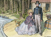 0048340 © Granger - Historical Picture ArchiveCANADA: EMIGRANTS, c1830.   A middle-class British emigrant couple on the Canadian frontier, c1830. Drawing by C.W. Jefferys.