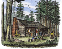 0061307 © Granger - Historical Picture ArchivePIONEER HOMESTEAD, 19th C.   A pioneer homestead in a pine forest: colored engraving, 19th century.