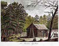 0131076 © Granger - Historical Picture ArchiveLOG CABIN, 1826.   'An American Log-house.' Hand-tinted engraving from 'Voyage dans l'Amerique septentrionale' (Travels in North America) by Georges Henri Victor Collot, 1826.