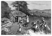 0370073 © Granger - Historical Picture ArchiveSETTLERS, 1880.   'The Settler's First Home in the Far West.' Engraving after a drawing by W.A. Rogers, 1880.